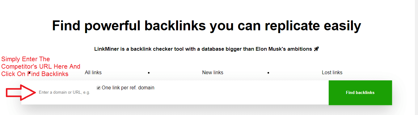 Link miner backlink finder